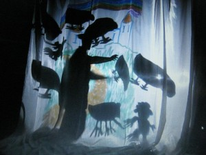 Butterfly Moon Shadow Puppets with Angus College students 2010